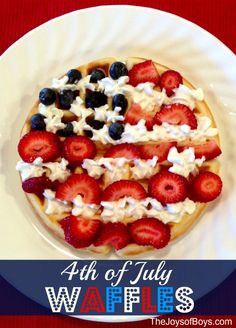 What could be more perfect to eat for a of July breakfast, than of July Waffles? These are a simple, yet delicious patriotic breakfast. Fourth Of July Food, 4th Of July Celebration, 4th Of July Party, July 4th, 4th Of July Camping, Holiday Treats, Holiday Recipes, Family Recipes, Good Food