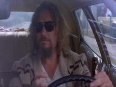 The Dude (Jeff Bridges) in the movie The Big Lebowski (the Lookin' Out My Back Door Scene)