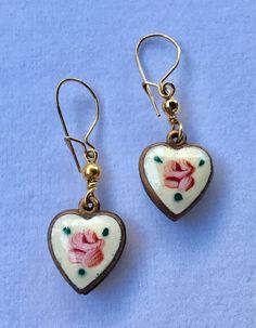 #Vintage Enamel  Heart Earrings, Guilloche Heart Earrings, Vintage Guilloche, Enamel Heart Earrings, Lucy Isaacs by LucyIsaacsJewelry on Etsy
