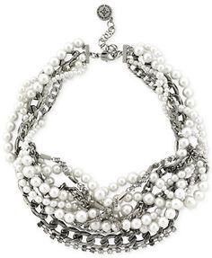 BCBGeneration Rhodium-Tone Pearl Cluster Torsade Necklace