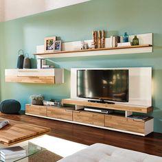 Tolle Wohnwand für das Wohnzimmer in Hochglanz Weiß kombiniert mit Eiche Massivholz. Zeitlos schöner Einrichtungstipp für das Wohnzimmer. Klasse Möbel für den Fernseher. Hier ansehen: http://www.pharao24.de/wohnwand-cengura-in-weiss-mit-eiche-echtholz-6-teilig.html#pint