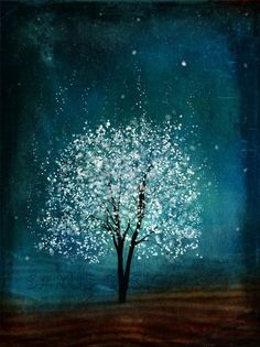 white tree, blue green background <3