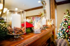 """Everyday items can be made festive for the holidays with household items like cinnamon sticks or extra trimmings from the tree. Mainstays 6.5"""" Glass Hurricane Candle holder $9 Cinnamon Sticks..."""