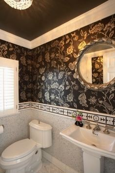 Bathrooms with Crown Molding Painted Ceilings & Wallpaper
