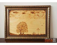 Ahşap Yakma - Yalnızlık Pyrogravure/PyroGraphi (Ahşap Yakma Resim) Ahşap Yakma El Sanatı