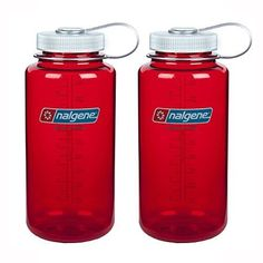 Nalgene Tritan Wide Mouth Water Bottle 32oz Red Bottle With Silver Cap Set of 2 * Check this awesome product by going to the link at the image.
