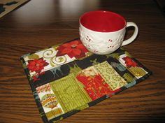 Christmas mug rug, like the layout of fabric not available now on Etsy