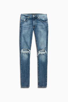 Daniel Patrick Men's Ripped Skinny Jeans, Dark Indigo Wash - Skinny Jeans