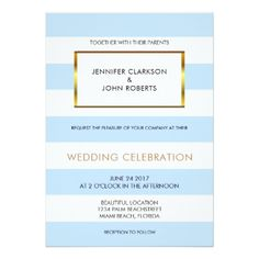 Modern blue white stripes gold Beach Wedding Card - gold wedding gifts customize marriage diy unique golden