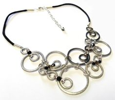 Oodles and Oodles of Bubbles Silver, Grey and Black Bib Necklace