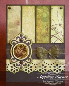 By Angelica Turner.4 scrap rectangles, distressed, ribbon, border-punched strip, sentiment. Sounds simple, but finding coordinating scraps may be a challenge.