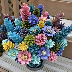 Pinecone Flowers, Ocean Breeze ONE Dozen PineCone Flowers/ Pine Cone Flowers