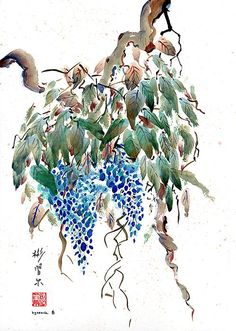 Wisteria Wisdom, spontaneous (xie yi) style chinese brush painting on rice paper by bgsearle.
