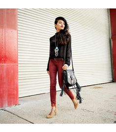 Olivia of #Lustforlife wearing J BRAND Luxe Sateen Super Skinny in Gaya Red. #FallforJBRAND