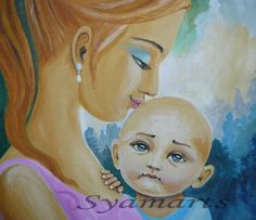 Original acrylic Painting mother and baby child true by syamarts