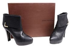 aec61a1cbf95 GB1025535K Louis Vuitton Queen Ankle Boot In Grained Leather Black Size 8.5  This on-trend. Tradesy