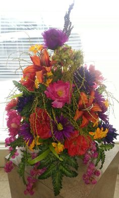 #Sympathy,  #silk flowers, #side vase, made with  #hanging basket base can add wire hanger later to be used on shepards hook at cemetery. Memorial Hanging basket  #memorial hanging basket #cemetery flowers #grave #tombstone #basket
