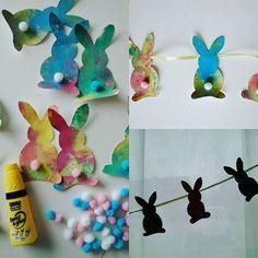 Craft activity for todlers with fingerpaint and stamps diy easter bunny banner - knutselen voor peuters en kleuters met vingerverf en stempels: doe het zelf slinger voor Pasen met paashaasjes