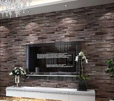 Luxury-wood-blocks-brick-wall-effect-vinyl-10M-wallpaper-Roll-living-room-brown