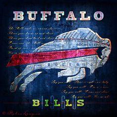 Buffalo Bills City Map - Perfect Birthday, Anniversary, Groomsmen Gift for Any Buffalo Fan - Unframed Prints