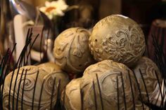 romantic textured decorative spheres  www.EvergreenMfg.net  Evergreen - your shopping destination at Lake of the Ozarks Osage Beach, Decorative Spheres, Home Decor Store, Evergreen, Romantic, Shopping, House Decor Shop, Romance Movies, Romantic Things