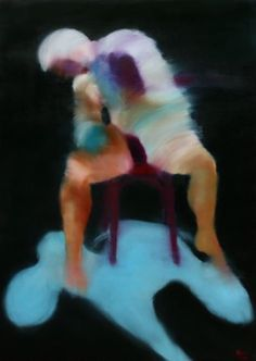 SEUL SUR LA CHAISE (Peinture),  97x130 cm par DOV MELLOUL HUILE SUR TOILE
