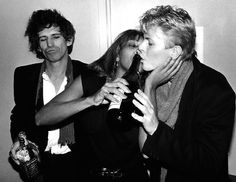 Keith Richards, Tina Turner and  David Bowie  photographed by  Bob Gruen (1983)