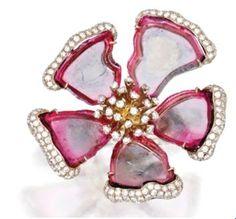 Tourmaline flower ring water Mellon and pink fuschia  diamond