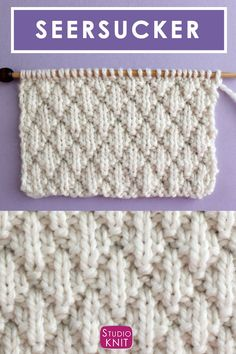The Seersucker Stitch Knitting Pattern creates textured rows of raised puckered diamonds with an easy Repeat of knits and purls. The Seersucker Stitch Knitting Pattern creates textured rows of raised puckered diamonds with an easy Repeat of kn. Knitting Designs, Knitting Patterns Free, Knit Patterns, Knitting Projects, Knitting Ideas, Knitting Stiches, Easy Knitting, Crochet Stitches, Gilet Crochet