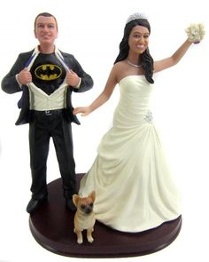 Batman groom wedding cake topper with your faces!