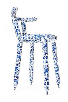 Delft Blue Carbon Chair by Marcel Wanders   From a unique collection of antique and modern chairs at https://www.1stdibs.com/furniture/seating/chairs/