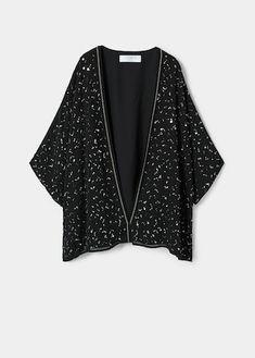 Caftan brodé sequins Kimono Jacket, Kimono Top, Mango France, Jackets, Tops, Women, Style, Fashion, Long Cut