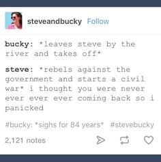 """Steve: """"I thought you were never ever ever ever coming back so I panicked"""""""