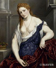 광택없는 흰 얼굴빛은 얼굴에 귀족적 자태를 나타내는 순수함과 섬세함을 얼굴에 부여했다.  파리스 보르도네, 플로라, 루브르 박물관