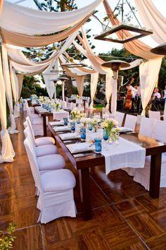 gorgeous draped reception setting