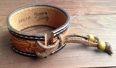 Vintage Tony Llama Tooled Leather Belt Cuff with от TigerBombe