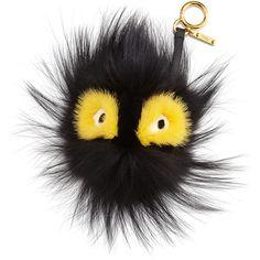 Fendi Fur Ball Monster Charm for Handbag ($900) ❤ liked on Polyvore featuring bags, handbags, black fur handbag, fox purse, fox handbags, fox bags and fox fur handbag