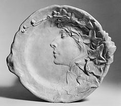Plate with Profile Head. Gaston Lachaise. (American (born France) 1882–1935). Date: ca. 1904–5. Medium: Plaster, painted.