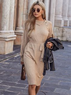 Asymmetrical Neck Raglan Sleeve Belted Sweater Dress | SHEIN EUR