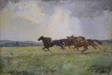 One of the 40 works by Edward Seago from the Horton/ Ancil collection which will be offered at Sotheby's on November 13. 'The Gallop, Weston on the Green', a 2ft 3in x 3ft 4in (69cm x 1.02m) oil on canvas, is estimated at £60,000-80,000. | Antiques Trade gazette