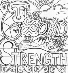The Lord is my strength - Bible coloring page, Bible journal, doodle, verse