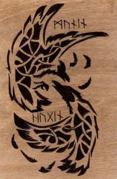 Nordic Knot Work Ravens Huginn Muninn Wood Burning.