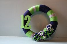 Seattle Seahawks 12th Man Yarn Wreath.