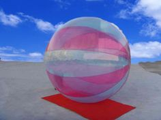 Red stripes walking ball