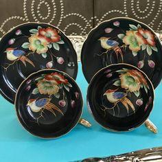Vintage Japanese Black Teacup Sets