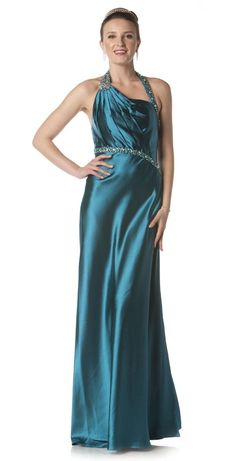 Formal Teal Evening Dress Long Side Slit Open Back Bead Halter Gown $147.99