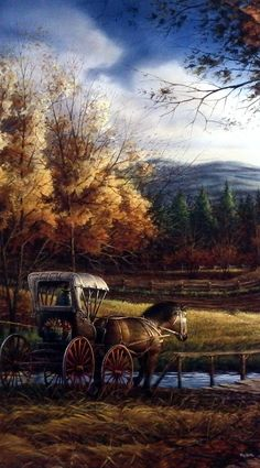 This Redlin Print is from the days when the Country Doctor made house calls with Horse and Buggy. Image Size x Terry Redlin, Landscape Photography, Nature Photography, Nature Landscape, Horse And Buggy, Autumn Scenes, Landscape Background, Country Scenes, Country Art