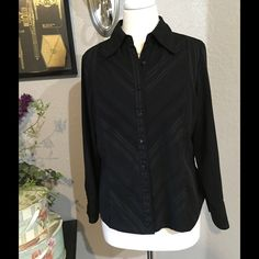 East 5th Petite Size Large Black Button Down  Lightweight good used condition. East 5th Tops Button Down Shirts