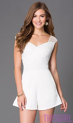 SHORT SLEEVELESS ROMPER WITH EMBELLISHED BODICE BY WOW COUTURE