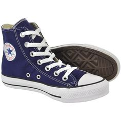 Converse All Stars blue boots - Ribbon blue boots - All Star shoes UK ($52) ❤ liked on Polyvore